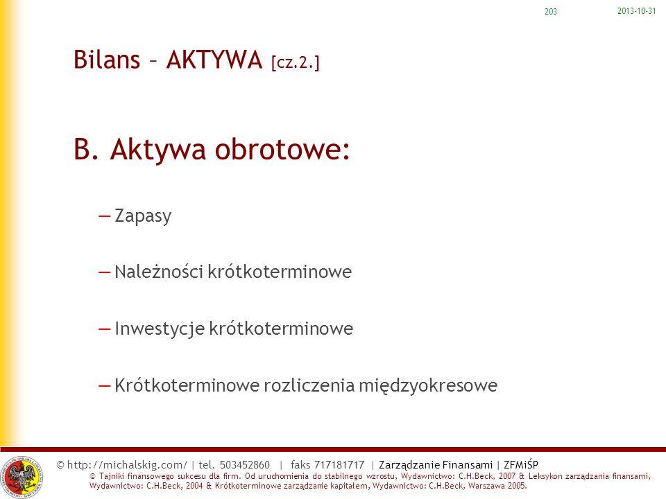 B. Aktywa obrotowe: Bilans – AKTYWA [cz.2.] Zapasy